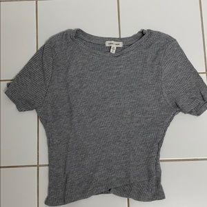 silence & noise Grey Ribbed Crop Top